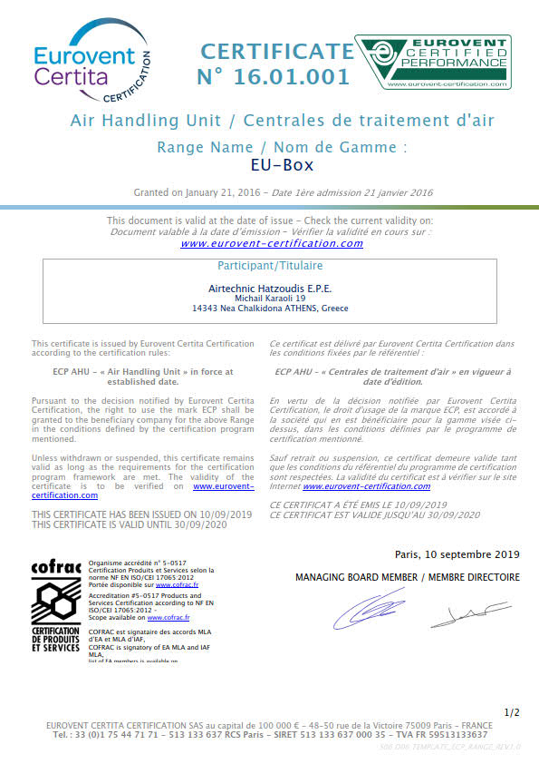 EUROVENT Certification Diploma 2019-20